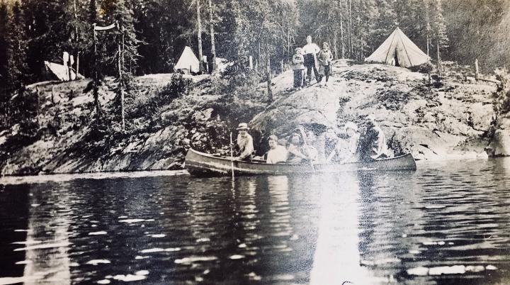 Canoeing on Lake Sesekinika around 1910