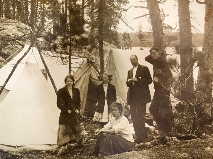 Well Dressed Campers Lake Sesekinika around 1910