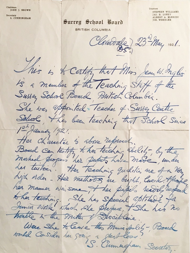 Jean Inglis Performance Letter