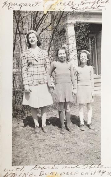 Margaret Burrell, war guest and Doris and Helen 1942