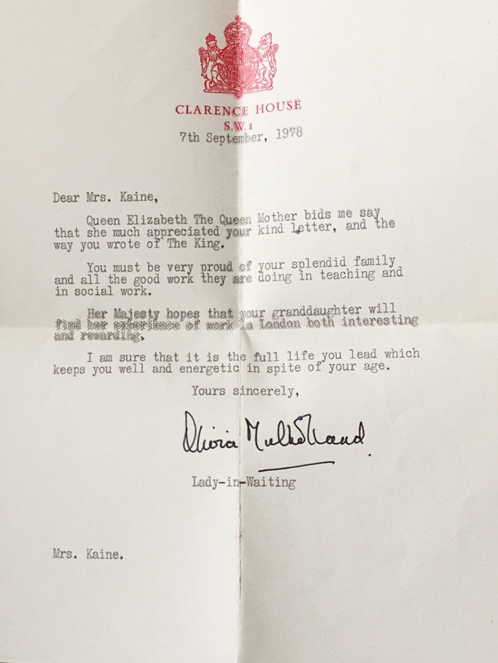 Letter from Queen Mother 1978